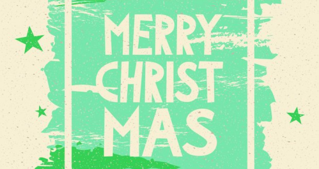 "hand painted background with frame and text ""merry christmas"""
